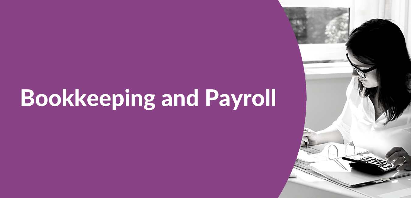 Bookkeeping and payroll text header with an image of a bookkeeper VIable Corporate Services